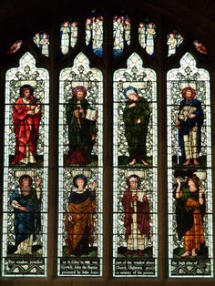Description: Wrexham, Wales: Parish Church of St Giles: window from St John the Baptist Church, Hightown (designed by Edward Burne-Jones studio; window moved to St Giles in 1988)