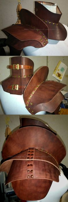 Some damn awesome body armour. Full leather gorget and pauldrons in one amazing neck and shoulder protection. The gorget collar can be fastened loose, firm or tightly. This one is dyed plain brown but various colours and decorations can be added if you wish to order your own to fit you exactly. We also have a matching leg armour and arm armour. Gorget $110Single Pauldron $145 Full Pauldrons pair $280 Single Pauldron with matching Gorget $245 Gorget and Full Pauldrons $375 CLICK HERE to…