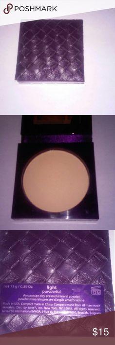 Tarte powderful Amazonian pressed clay powder in light swiped once tarte Makeup Face Powder