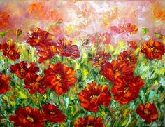 """Купить Картина маслом """"Маковое поле"""". холст цветы маки в интернет магазине на Ярмарке Мастеров"""