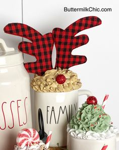 Tiered Tray Signs & Toppers For Rae Dunn Mugs by ButtermilkChic Christmas Balls, Christmas Crafts, Christmas Ideas, Diy Whipped Cream, Aunt Betty, Cream Mugs, Paper Cupcake, Fake Food, Tray Decor