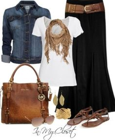 Boho chic. Black maxi skirt with denim top, oversized purse & sandels