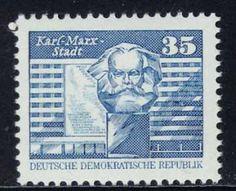 Karl Marx hätte wohl verständnislos den Nischel geschüttelt, hätte er von der Umbenennung erfahren (DDR, MiNr. 2506).