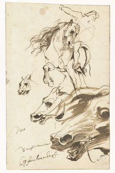 Studies van een ruiter en het hoofd van een paard, Anthony van Dyck, 1620 - 1621