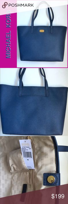 """Michael KORS Jet Set Tote in Navy NWT Awesome tote for everyday! Medium navy (gorgeous) saffiano leather. Signature MK lining with 2 zipper pockets and 4 slip pockets. Snap closure. Exterior phone pocket and gold logo plaque. Dimensions: 14"""" x 11.5"""" x 6"""" with 10"""" strap drop. 100% Authentic. NWT 8142016199 Michael Kors Bags Totes"""