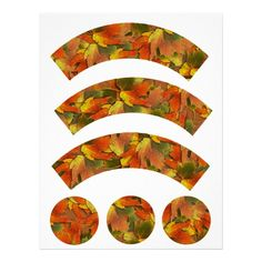 Orange  Yellow  Fall Leaves Cupcake Liners #cupcakewrappers #cupcakeliner #cupcakecraft #thanksgiving