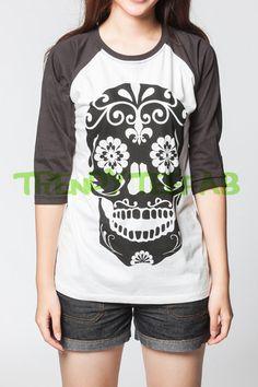 Skull Baseball T-Shirt Day of The Dead Maya Long by TrendyTeeFab