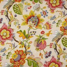 Wonderland Pearl Jacobean Floral Upholstery Fabric