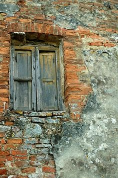 'Brick Wall, Tuscany, Italy' Canvas Print by fauselr A crumbling wall in Tuscany. with a decaying wooden window. Wooden Windows, Old Windows, Windows And Doors, Old Wall, Old Brick Wall, Faux Brick Walls, Rustic Doors, Unique Doors, Old Doors