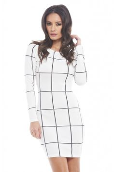 Long Sleeve Bodycon Black and White Checked Dress #Bodycon #Checked #BlackandWhite www.ustrendy.com #UsTrendy