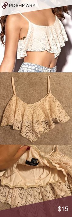 Crochet swing crop tank top Brand NWT swing crop top in a cream color. (Tag says taupe). Super cropped and super cute!! Forever 21 Tops