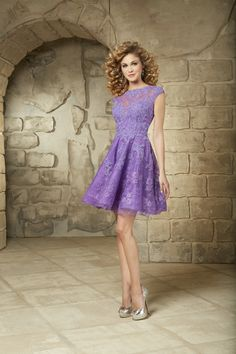 Wishesbridal Lovely O Neck Short Lilac #Lace A Line Cocktail #HomecomingDress Css0062