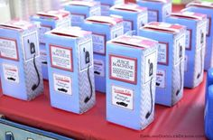 Classic Car Birthday Party- gas pump juice box covers!