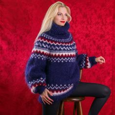 New Hand Knitted Mohair Sweater Thick Norwegain BLUE Fluffy Pullover SUPERTANYA #SUPERTANYA #TurtleneckMock