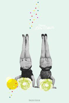 Dans les choux, illustration trop choux signée Cité Candide, une marque de papeterie française à l'esprit décalé et vintage aux collages surréalistes. La marque est distribuée sur l'eshop de @bonjourbibiche concept store scandi rétro <3