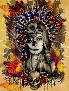 Indian Mexican Skull with headdress. Mexican Skull Tattoos, Sugar Skull Tattoos, Sugar Skull Art, Mexican Skulls, Indian Skull Tattoos, Sugar Skulls, Aztecas Art, Catrina Tattoo, Totenkopf Tattoos