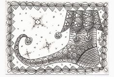 Zentangle Inspired Art ATC  - If the Shoe Fits.  For handmade greeting cards visit me at My Personal blog: http://stampingwithbibiana.blogspot.com/