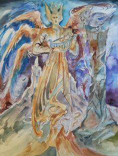 Child Original Painting Guardian Angel Birth Baby Cradle Spirit World Soul Protector Magic Spiritual Surreal Heavenly Ancient Dreamworld Art Red Moon Eclipse, Babylon King, Pyramids Egypt, Balkon Design, Spirit World, Watercolor And Ink, Contemporary Paintings, Artist Art, Surrealism