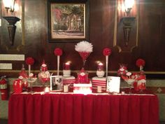 Candy buffet for an birthday celebration. 80th Birthday, Birthday Celebration, Red Candy Buffet, Photo Boxes, Red And White, Table Settings, Party, Place Settings, Receptions
