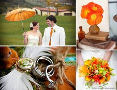 Terranea Resort  Oranges and Green  Wedding by Amber Events