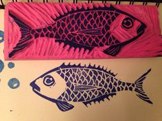 Fish stamp made out of eraser