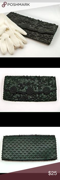 """Vintage Black Satin Beaded Clutch An elegant clutch, evening bag featuring beautiful beading and shimmering sequins. This circa 1960s purse was made in Hong Kong and measures 9.75"""" X 5"""". It is made out of black satin with a snap flap that opens to one large compartment with 5"""" wide pocket perfect for cash or cards. Vintage Bags Clutches & Wristlets"""