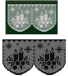 very pretty filet crochet candle and snowflake design edging or valance Filet Crochet Charts, Crochet Borders, Crochet Diagram, Crochet Curtains, Tapestry Crochet, Crochet Doilies, Thread Crochet, Crochet Stitches, Knit Crochet