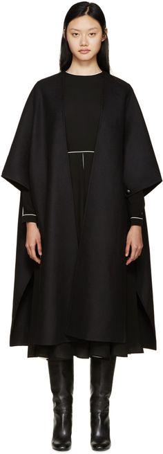Valentino Black Wool Cape