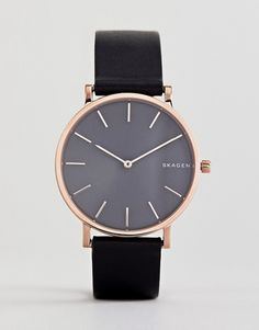 Skagen | Skagen SKW6447 Hagen Slim Leather Watch In Black 38mm