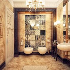 Stylish  Bathroom with various coordinated tiles combined like a patchwork quilt.
