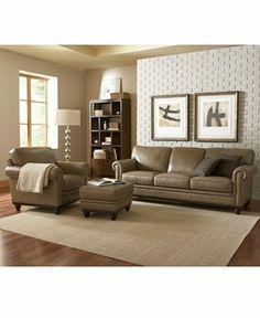 Martha Stewart Bradyn Leather Sofa Living Room Furniture Collection LIMITED