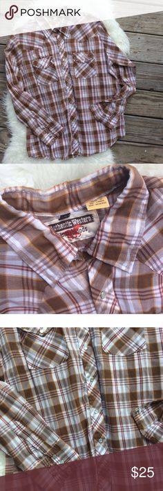 """Men's Vintage Plaid Pearl Snap Shirt Excellent condition men's vintage plaid Pearl snap button down. Size Large. 65% polyester, 35% cotton. Shoulder seam to shoulder seam across the back 17.5"""", chest 47"""", length 28"""", sleeve length 25"""". Thin fabric. No trades, offers welcome. Vintage Shirts Casual Button Down Shirts"""