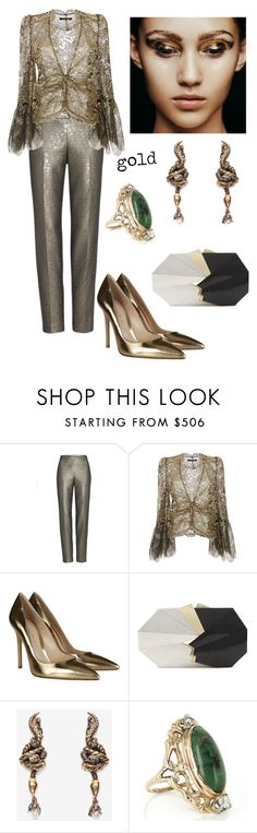 """Untitled #462"" by jeauhall on Polyvore featuring St. John, Roberto Cavalli, Gianvito Rossi, Jill Haber, Alexander McQueen, Vintage, gold and metallic"