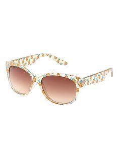 Clear Pineapple Print Plastic Sunglasses: Charlotte Russe