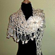 Ivory Crochet Shawl Triangle Lace Bridal by wildirishrosecrochet, $55.00
