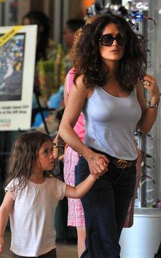 Salma rocking casual - need this gucci belt