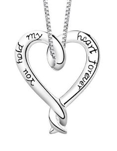 """Sterling Silver """"You Hold My Heart Forever"""" Heart Pendant  18"""""""