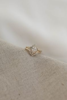 Emerson Wedding Set | 8x4mm Natural Diamond | #yellowgold #weddingset #engagementring Halo Wedding Set, Wedding Rings Vintage, Wedding Sets, Vintage Rings, H Color Diamond, Diamond Bands, Halo Diamond, Diamond Cuts, Marquise Diamond