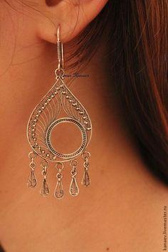 Купить Кубачи !!! Серебряные серьги !!!! - серебряный, скань, филигрань, филигрань серебро, серебро