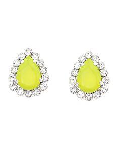 The Neon Yellow Teardrop Earrings by JewelMint.com, $20.00