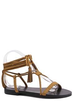 Flat Heel Tassel Lace-Up Sandals