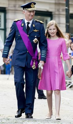 Belgian King Philippe walked next to his eldest daughter Crown Princess Elisabeth on the celebration of 2 years on the throne. July 21, 2015