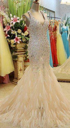 Luxurious Prom Dresses,Mermaid Prom Dress,Feather Prom Dress,Beaded Prom Dress,Floor Length Prom Dress,Charming Prom Dress,Custom Prom Dress,Pageant Dresses