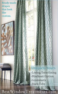 Ready-made curtains and drapes with endless semi-custom options: blackout lining, interlining, grommets, back-tabs in standard size curtain panels, plus extra long inch panel or 120 inch draperies. Most curtains and drapes are proudly Sewn in the USA! Curtains And Draperies, Drapery Panels, Bedroom Curtains, Window Coverings, Window Treatments, Living Room Decor, Bedroom Decor, Custom Curtains, Minimalist Living