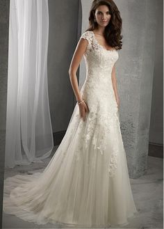 Elegant Tulle Scoop Neckline Natural Waistline A-line Lace Wedding Dress