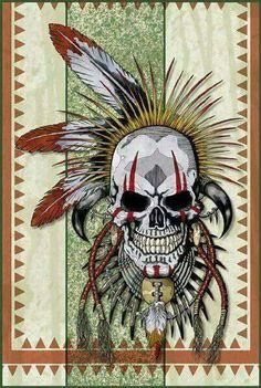 Guard Skull by … Native American Tattoos, Native Tattoos, Native American Art, Skull Tattoo Design, Skull Design, Indian Skull Tattoos, Totenkopf Tattoos, Skull Pictures, Skull Artwork