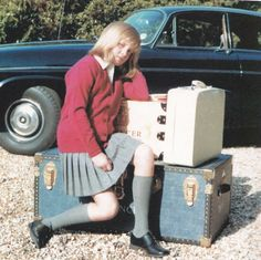 Vintage Royalty: Diana Spencer heading off to boarding school and not looking too happy about it.