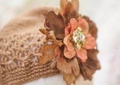 Gorgeous tan girls hat w peachy browns flower by greenearthstudio, $29.40