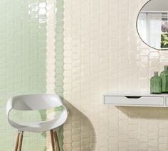 Riad by Natucer Extruded porcelain wall tiles in Lagrima Verde and Lagrima Cotto (7 colours available). Offered in 3 formats and 10mm thickness with a crackle glaze, allowing for custom arrangements. www.natucer.es