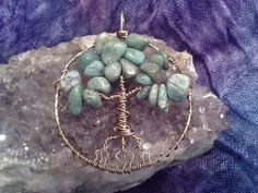 African Jade Tree of Life Wire Wrapped Pendant by TheMoonlitPetal
